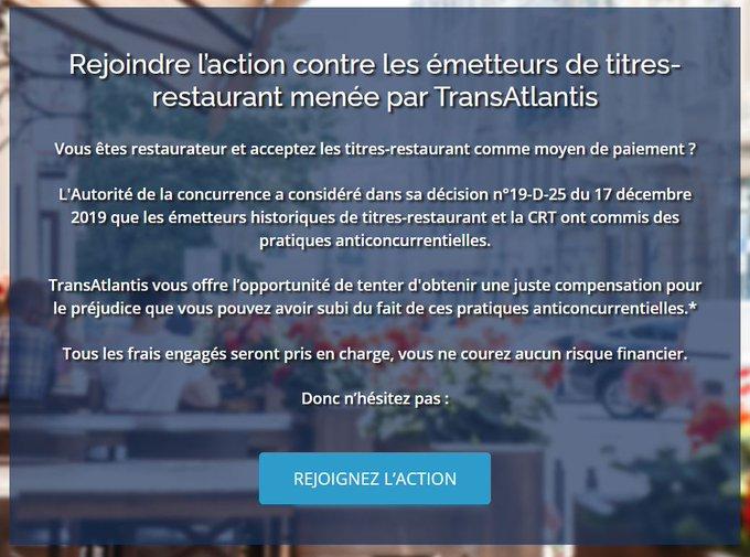 Rejoindre l'action contre les émetteurs de titres-restaurant menée par TransAtlantis.